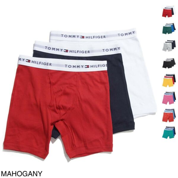 Tommy Hilfiger 3 Pack Underwear Cotton Classic Boxer Brief Multi Color Packs NEW $33.53