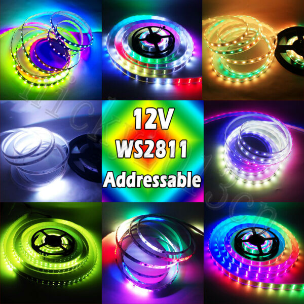5M WS2811 5050 RGB LED Pixel Strip Light Addressable Magic Double Triple Row 12V