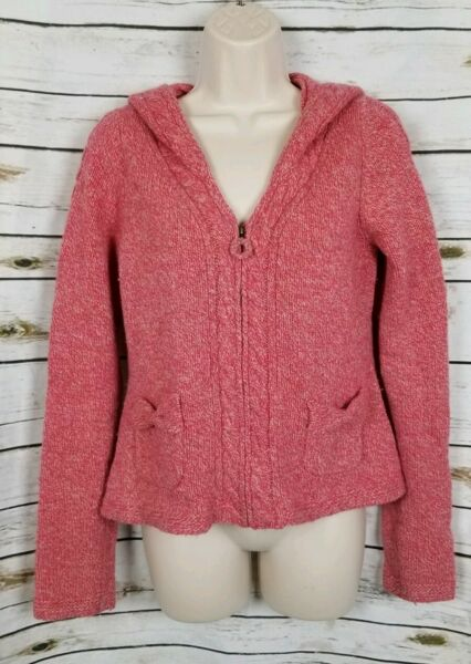 Anthro Sleeping on Snow Pink Hooded Sweater Pocketful Cardi Marled Cable M