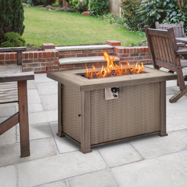 Outsunny 42quot; Metal Fire Pit Table Patio Propane Gas With Lid amp; Cover30000BTU