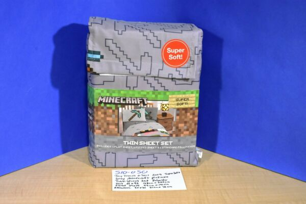 Jay Franco and Sons Minecraft Pick Axe Grey 3 Piece Twin Size Sheet Set(510-050)