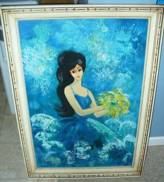 THE BLUE MISS oil painting on canvas framed. 42in Tall by 29in. wide. RARE