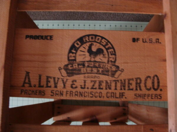 VINTAGE PRODUCE WOOD CRATE RED ROOSTER CALIFORNIA'S BEST A LEVY J ZENTNER CO