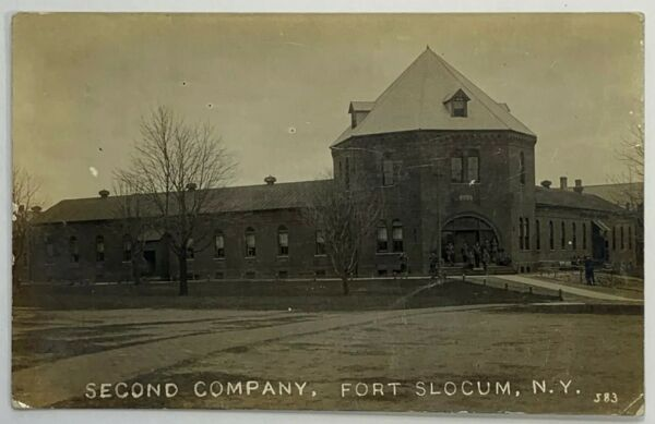 Old Military Army Real Photo Postcard RPPC Second Company Fort Scolum New York