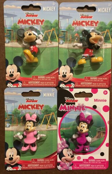 """Lot of 4 Disney Junior Mickey Mouse & Minnie Mouse 2.5"""" Figurines by Just Play"""