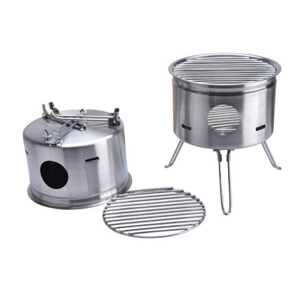 Stainless Steel Foldable Camping Wood Stove BBQ Portable Cooking Stove Outdoor