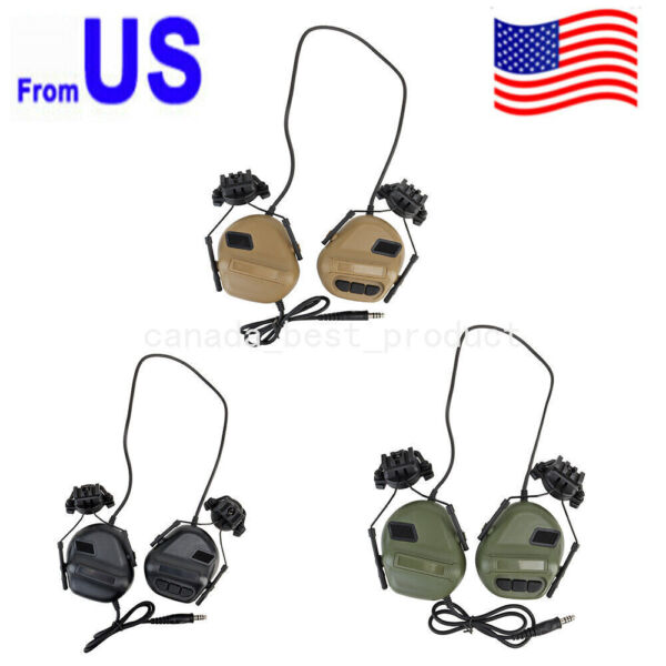 Tactical Military Waterproof Headset w Microphone Ear Muffs for Helmet Shooting