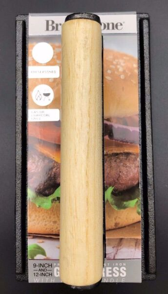 Brookstone Pre seasoned Cast Grill Press With Wood Handle New