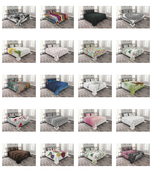 Ambesonne Quilted Bedspread Set Printed Coverlet $29.90