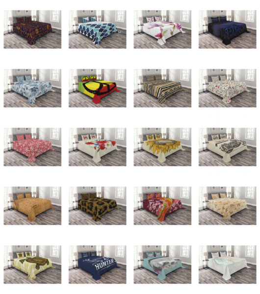 Ambesonne Quilted Bedspread Set Printed Coverlet Bedroom Accent $29.90