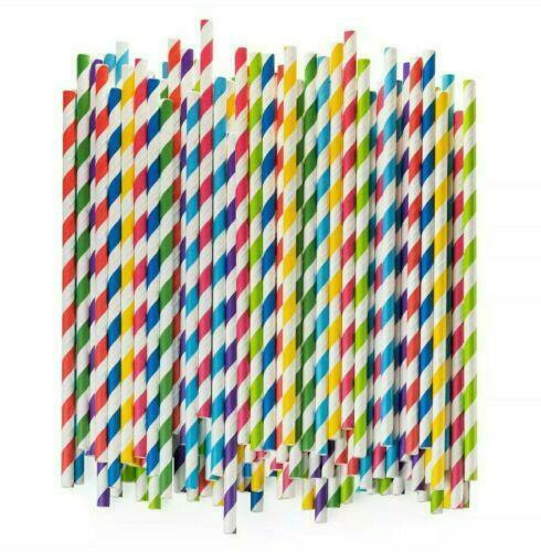 Premium Paper Drinking Straws 100% Biodegradable Assorted Colors 50ct Each $7.95