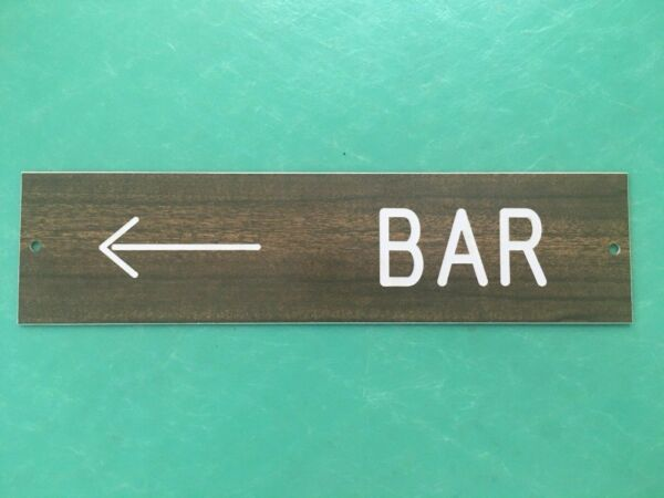 Vintage Directional Bar Wall Plaque Sign Plastic Brown Faux Wood