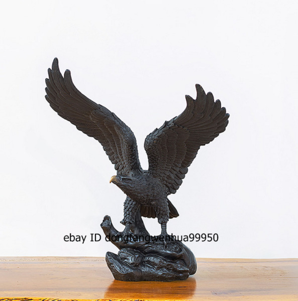 Western art deco Pure Bronze Hawk Open Wings Eagle falcon Bird Animal Sculpture