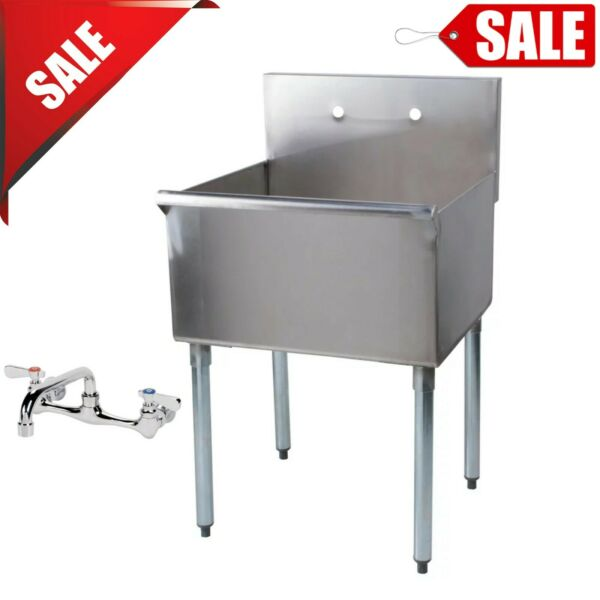24 X 24 X 14 Bowl Freestanding Utility Stainless Steel Commercial Sink w Faucet