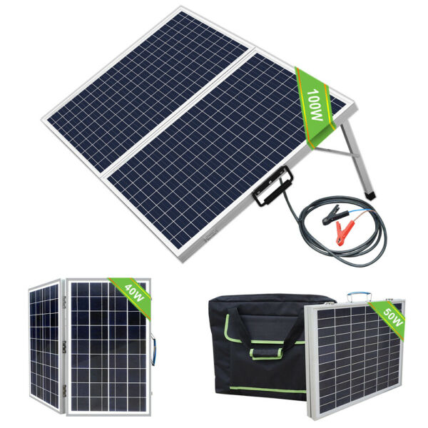 40W 50W 100W 12V Foldable Solar Panel Kit With Bag For Camping Traveling RV