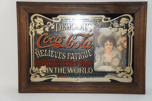 AWESOME VINTAGE COCA-COLA MIRROR SIGN BARSTORE ADVERTISEMENT