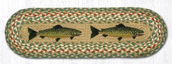 FISH 100% Natural Braided Jute Rug 27quot; x 8.25quot; Oval Capitol Earth Rugs $14.99