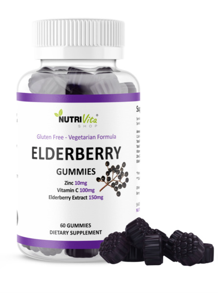 Black Elderberry Gummies 60 Count Vitamin C Zinc Natural Berry Flavor Immune