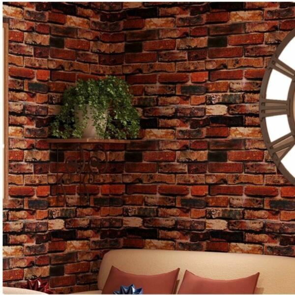 Self Adhesive Wallpaper Rust Red Brown Brick Contact Paper Fireplace 18quot;x120quot;