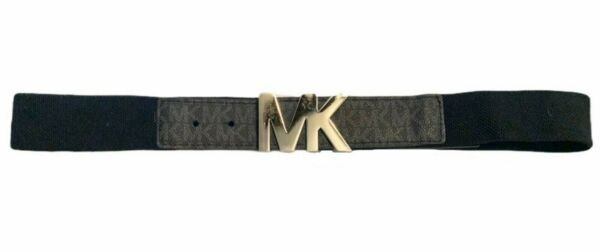 Michael Kors 38mm Linen Stretch Panel Belt Black M L $23.95