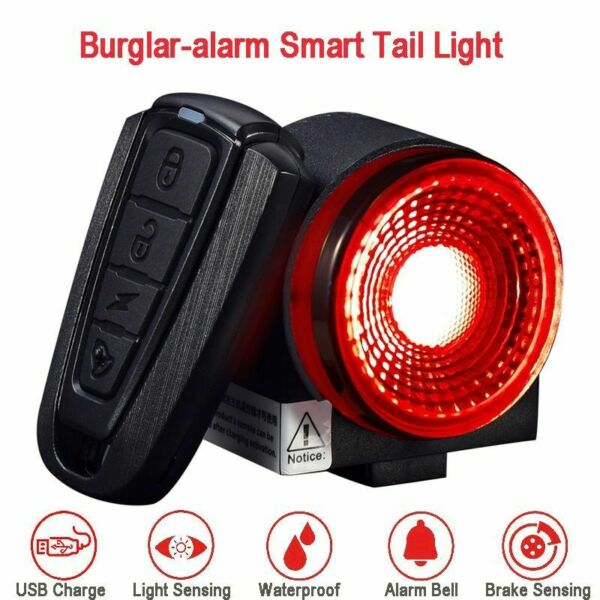 Bike Smart Taillight Burglar alarm Anti theft Light Brake Sensing Remote Control $34.99