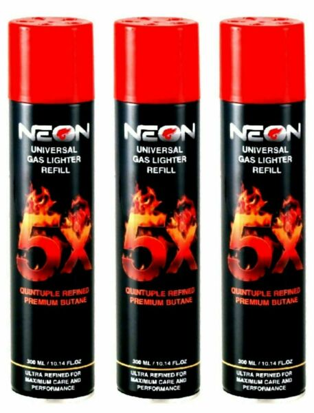 Neon Gas Refill Butane Universal Fluid Fuel Ultra 5X Refined 10.14 Oz 3 pack