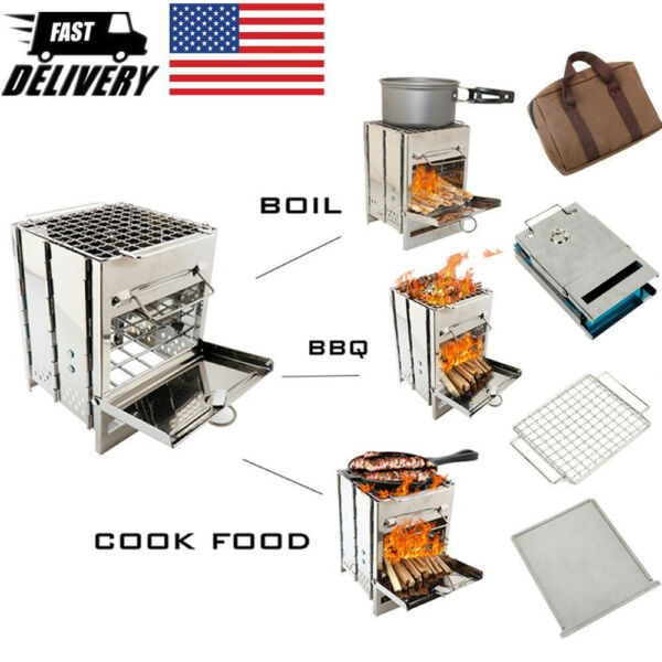 Folding Stainless Steel Wood Burning Stove Outdoor Camping Picnic Portable US