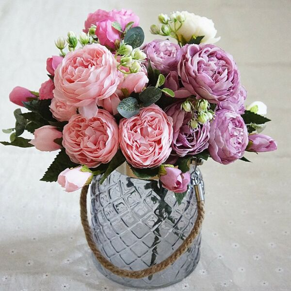 13 Heads Silk Peony Artificial Flowers Peony Wedding Bouquet Home Party Decor lo $3.57