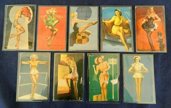 Vintage Set Of 9  Mutoscope 1940's Arcade Pinup Trade Card - Various Conditions