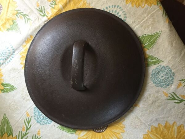 """Old Cast Iron Lid Unmarked Cast Iron Lid 9 1 2"""" Antique Cast Iron Lid"""
