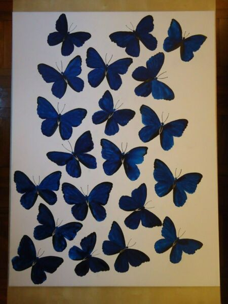 BLUE BUTTERFLIES HUGE 30'' X 40'' PAINTING ON CANVAS BY JAMES CHEN