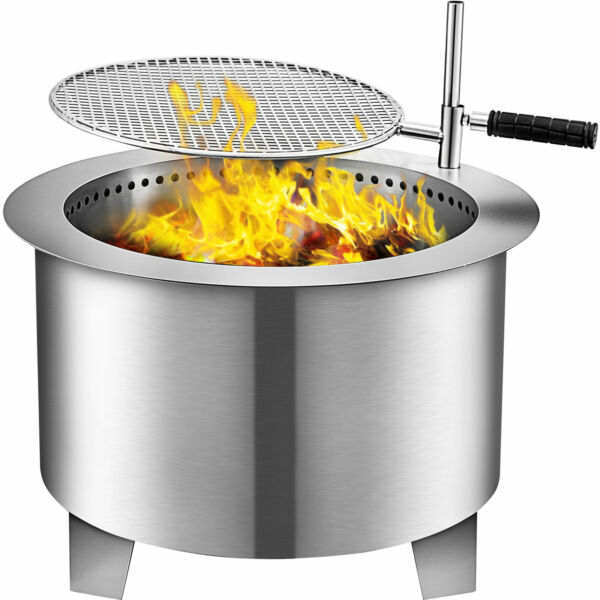22quot; Fire Pit Smokeless Stainless Steel Bonfire Wood Burning w Grill amp;Air Inlet