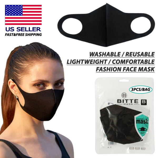 3PCS Washable Reusable Comfortable Fashion Protective Face Mask Black