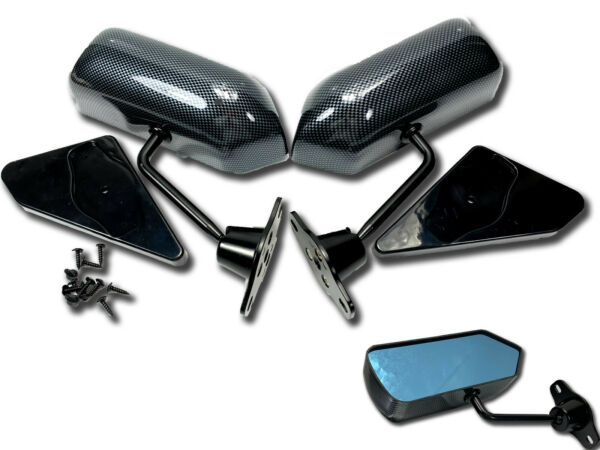 F1 racing side Blue mirror BLACK CARBON SHEET DIPPING FOR A4 Golf Jetta Beetle $125.80