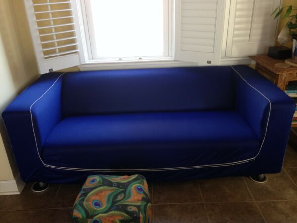 Blue IKEA KLIPPAN Slipcover with 3 Storage Pockets For Loveseat 2 seat Sofa $25.00