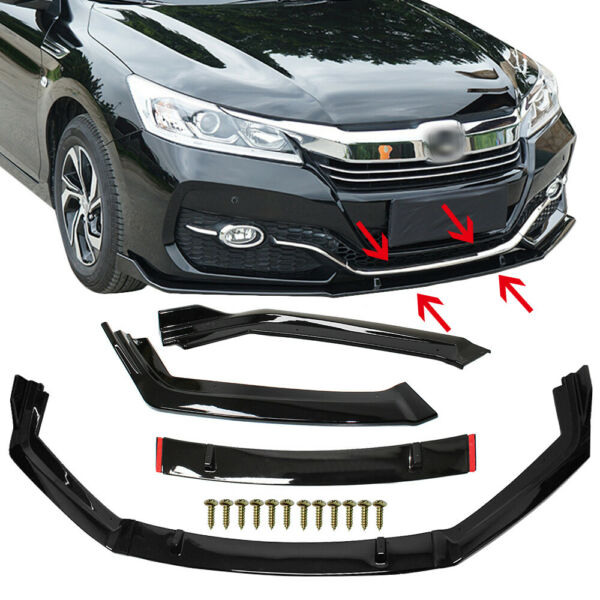 For Honda Accord 9th 9.5th 2014-2017 Black Front Bumper Lip Body Kit Spoilers US