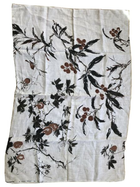 """Vintage Burlap Linen Fruitwood A Hand Print By Greeff 34"""" X 50"""" Exc No Stains"""