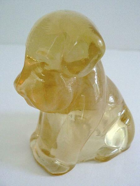 "GLOWS DEGENHART 3"" GLASS POOCH DOG FIGURINE D HEART CLEAR PEACH OPAL #4 $4.95"