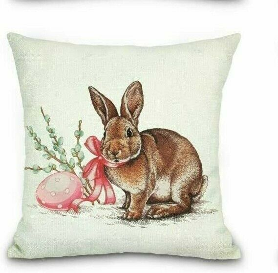 Easter Bunny Rabbit Pillow Cover Sofa Cushion Cotton Linen Cover USA SELLER $12.95