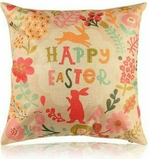 Easter Pillow Cover Sofa Cushion Cotton Linen Cover Happy Easter USA SELLER $12.95