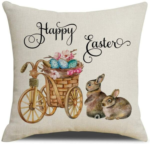 Easter Bunny Rabbits Pillow Cover Sofa Cushion Cotton Linen Cover USA SELLER $12.95