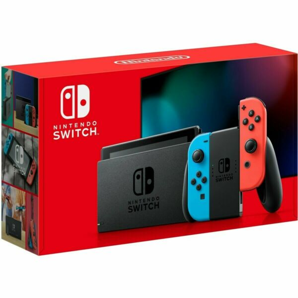 Nintendo Switch 32GB Gray Console with Neon Blue Neon Red Joy Con IN HAND