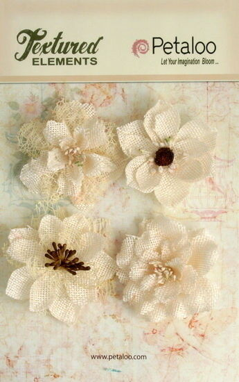Burlap Textured Flowers 4x IVORY Approx 55 60mmAcross amp; varied centres Petaloo E