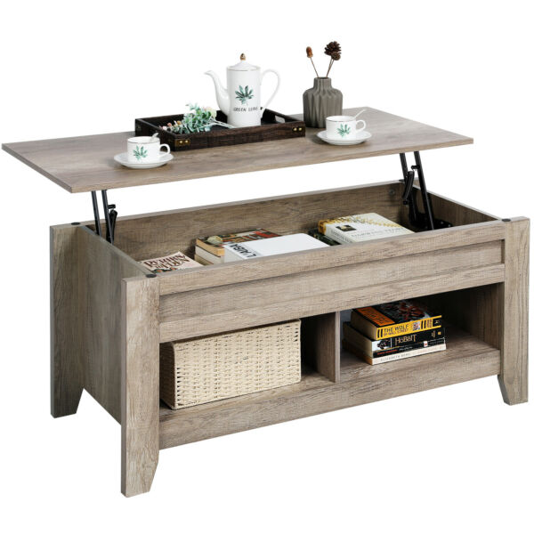 Lift Top Coffee Table w Hidden Storage Compartment Open Shelf for Living Room