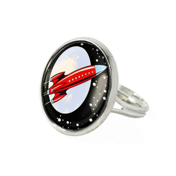 Retro Spaceship Toy Rocket Ship Sci fi Sterling Silver Fantasy Ring $12.99