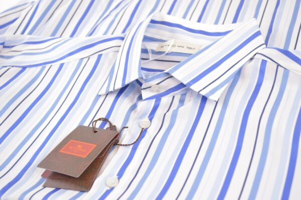 NWT ETRO Shirt Size 44 Made in Italy Blue White Stripe Dress Casual New $149.99