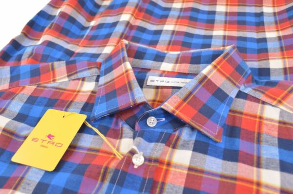 NWT ETRO Shirt Sz 44 Made in Italy Blue Red Plaid Dress Casual New $149.99