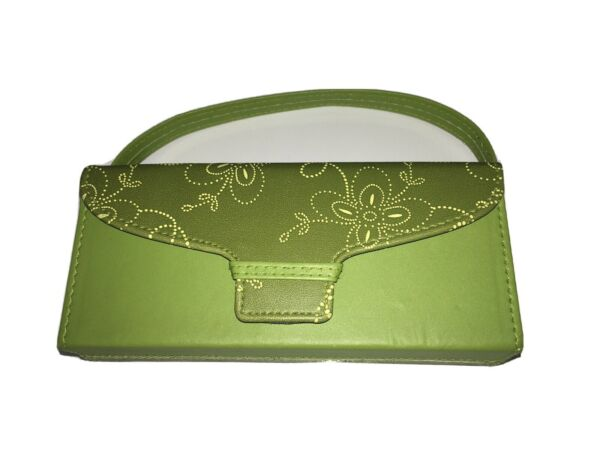 Vtg Small Carrier For Glasses Cards Cosmetics Etc. Green Satin Finish Strap $5.00