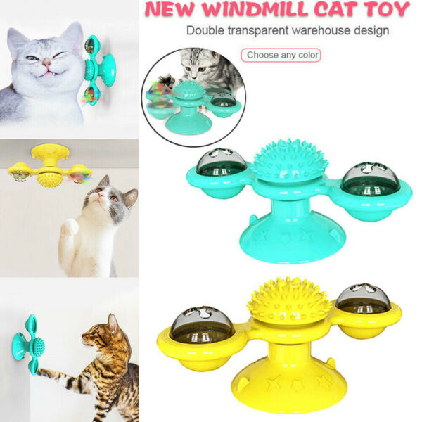 Cat Turning Windmill Turntable Tickle Toy Scratch Hair Brush Pet Accessories US $7.99