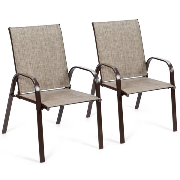 2PCS Patio Chairs Outdoor Dining Chairs with Armrest for Porch Backyard $99.79